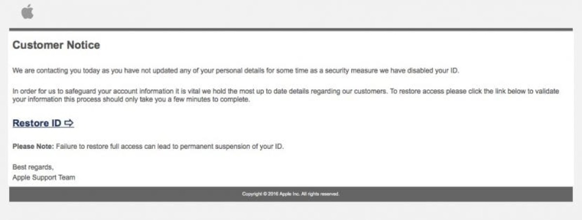 Apple Intento de Phishing