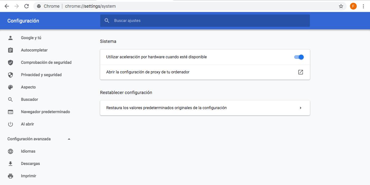 Aceleración hardware Google Chrome