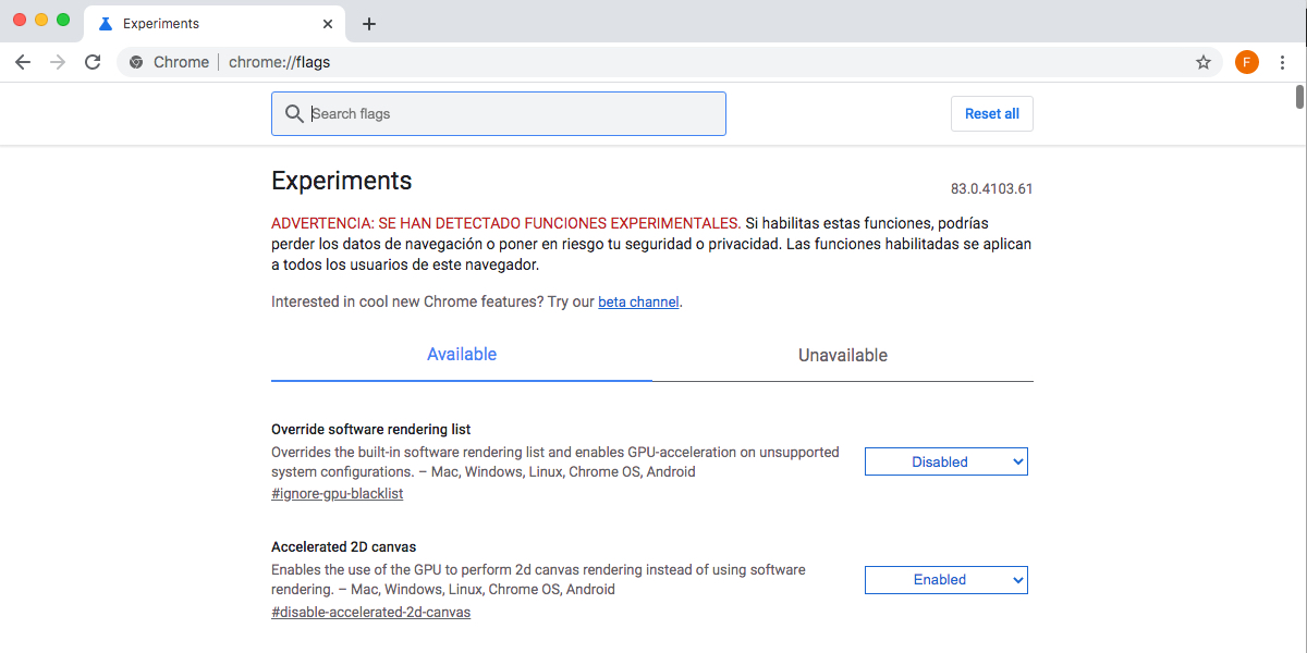 Chrome config Experiments