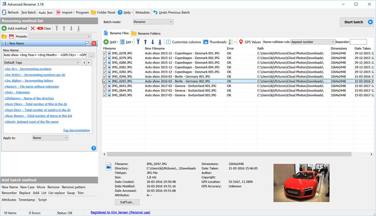 Advanced Renamer - renombrar archivos masivamente en Windows 10