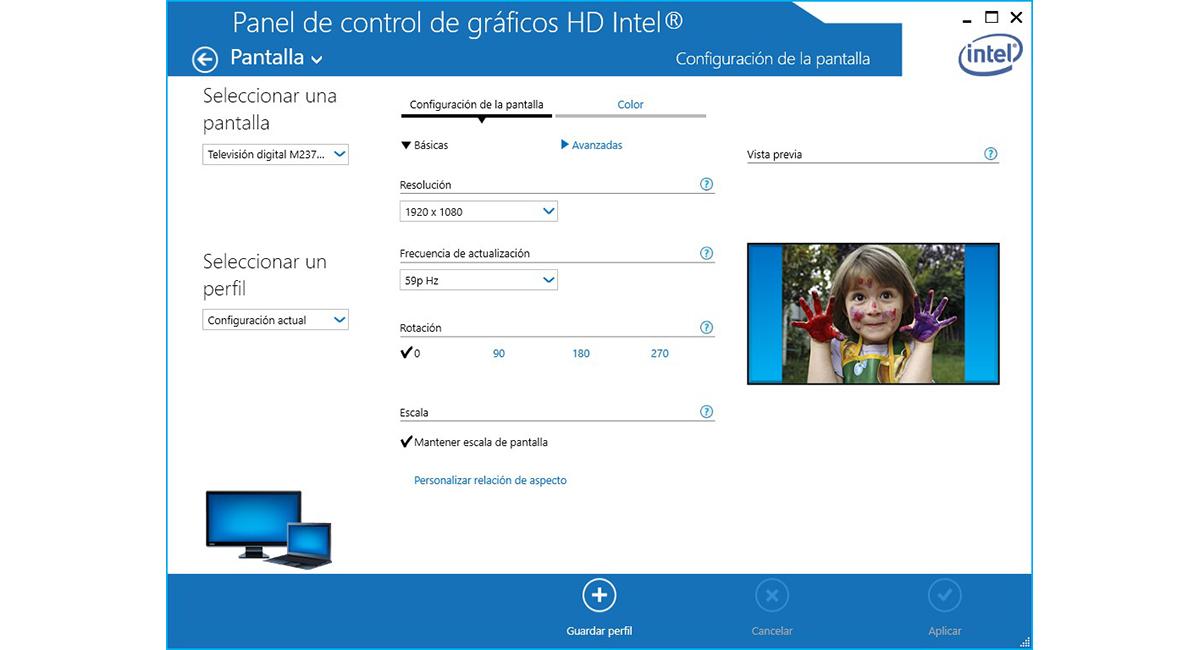 Girar pantalla Windows 10 gráfica Intel