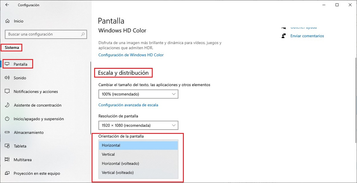 Girar pantalla Windows 10 desde configuración