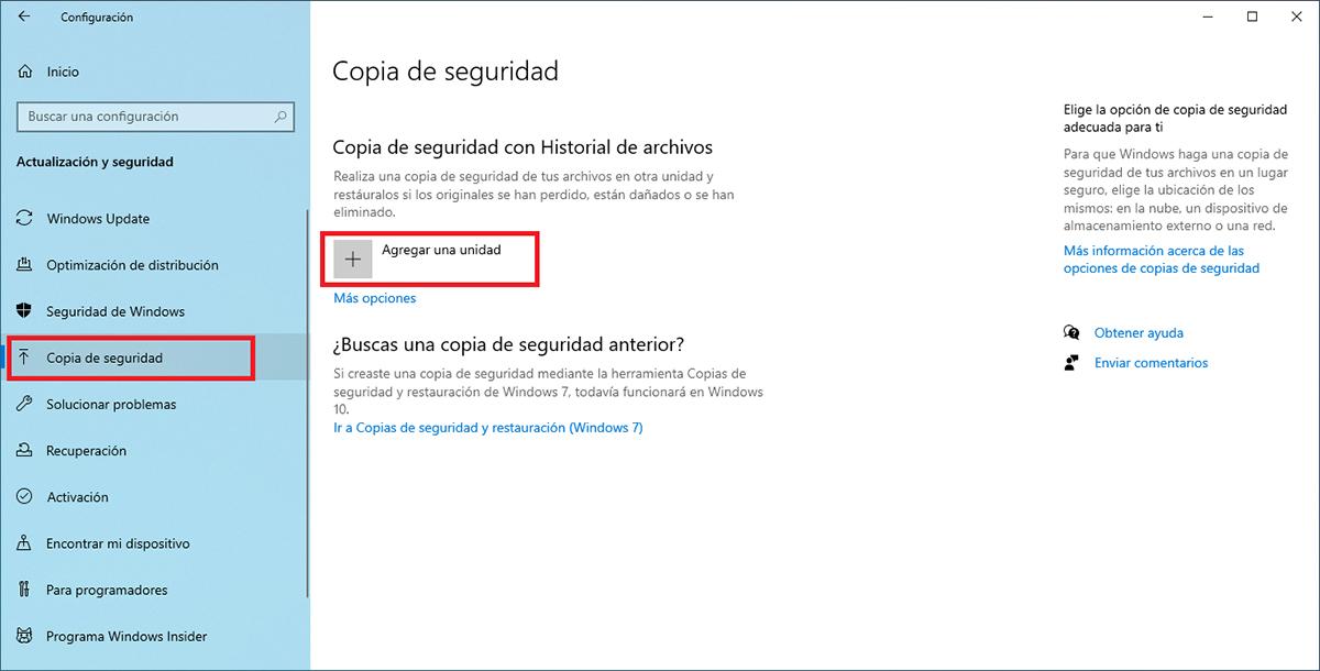 Copias de seguridad por unidad en Windows 10