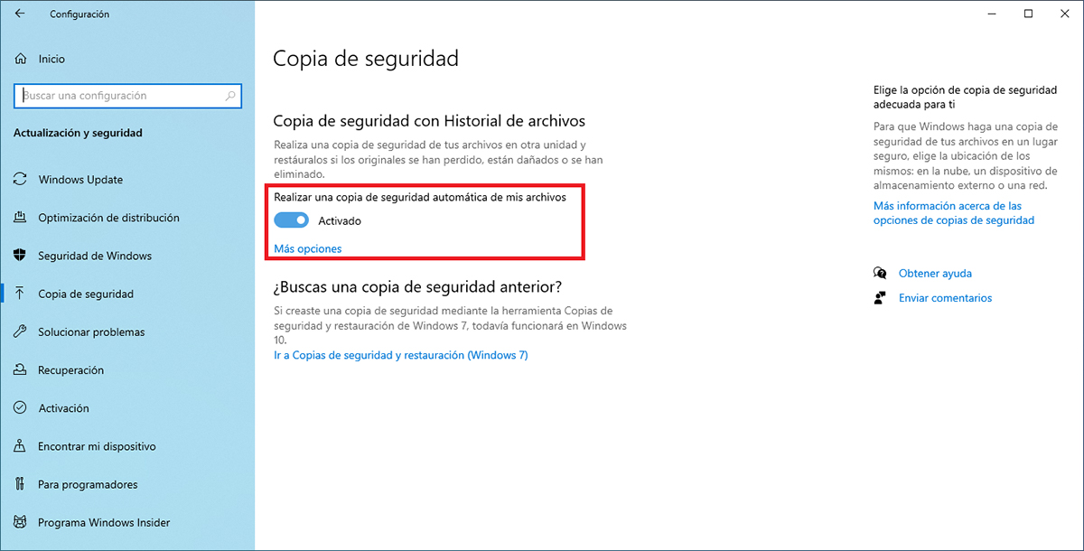 Realizar copia de seguridad Windows 10