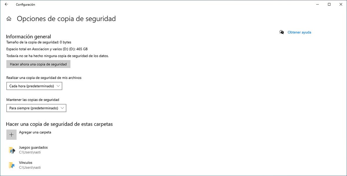 Opciones de copia de seguridad en Windows 10