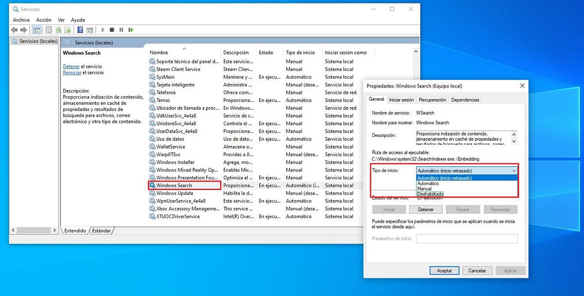 Desactivar indexacion archivos Windows