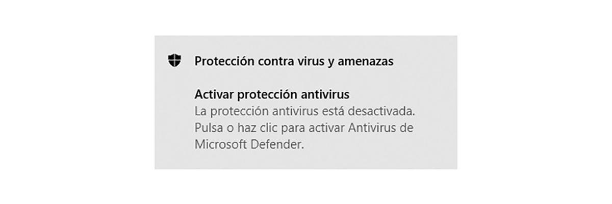 Windows Defender desactivado