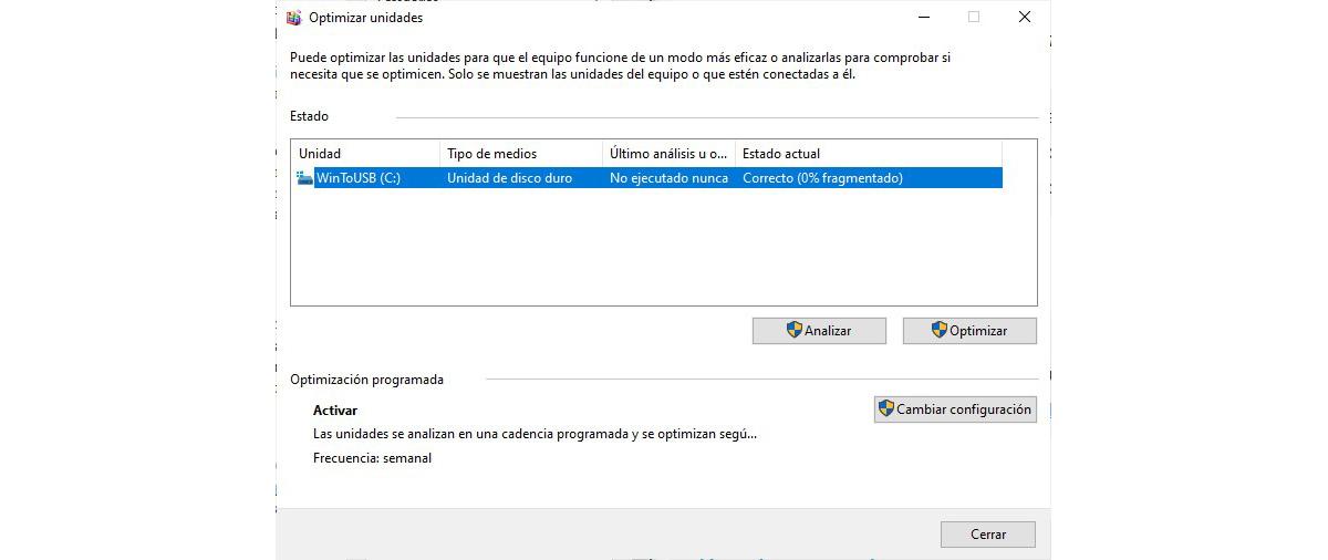 Desfragmentar disco duro en Windows 10