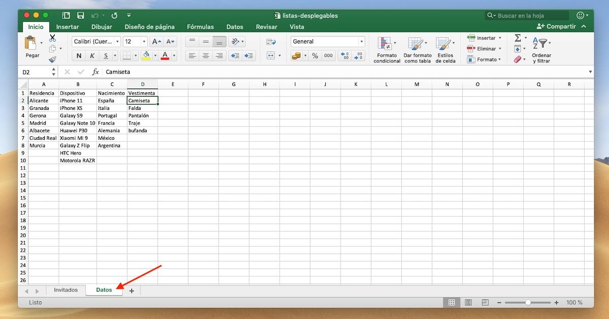 Fuente de datos Excel