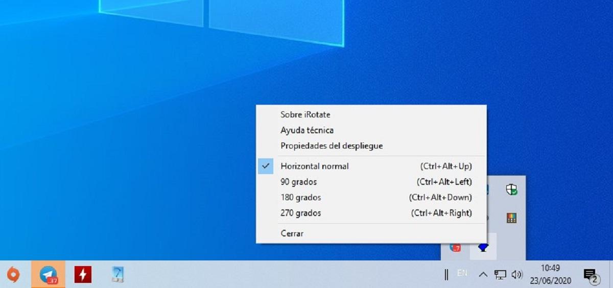 Girar pantalla Windows 10 gráfica con iRotate