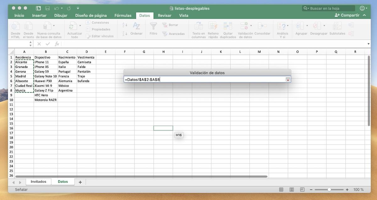 Celdas donde se encuentran los rangos de Excel