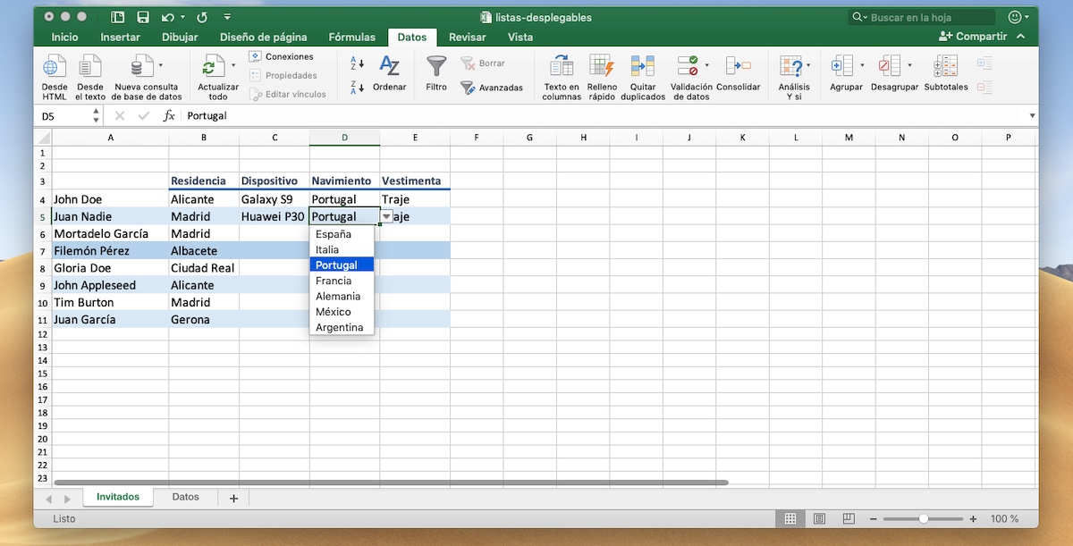 Lista desplegable Excel