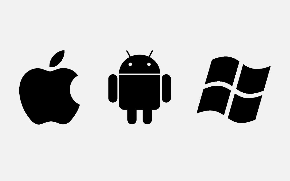 Logos macOS Android y Windows