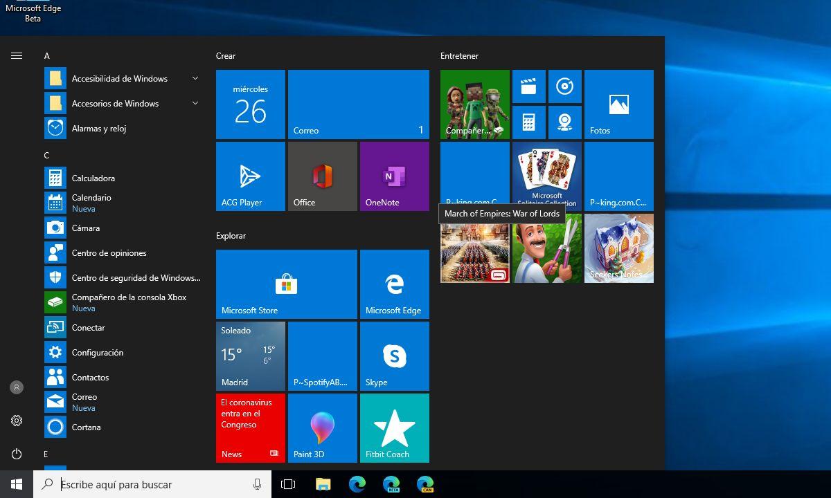 Menú de Inicio en Windows 10