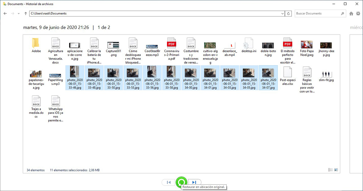 Restaurar copias de seguridad Windows 10