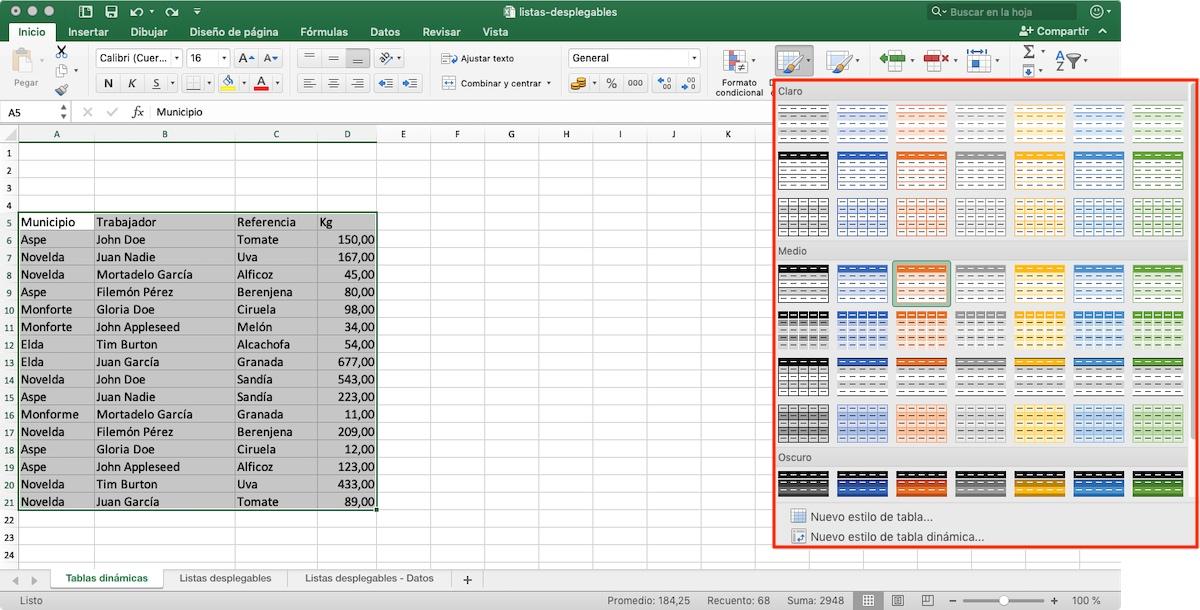 Crear tablas dinámicas en Excel