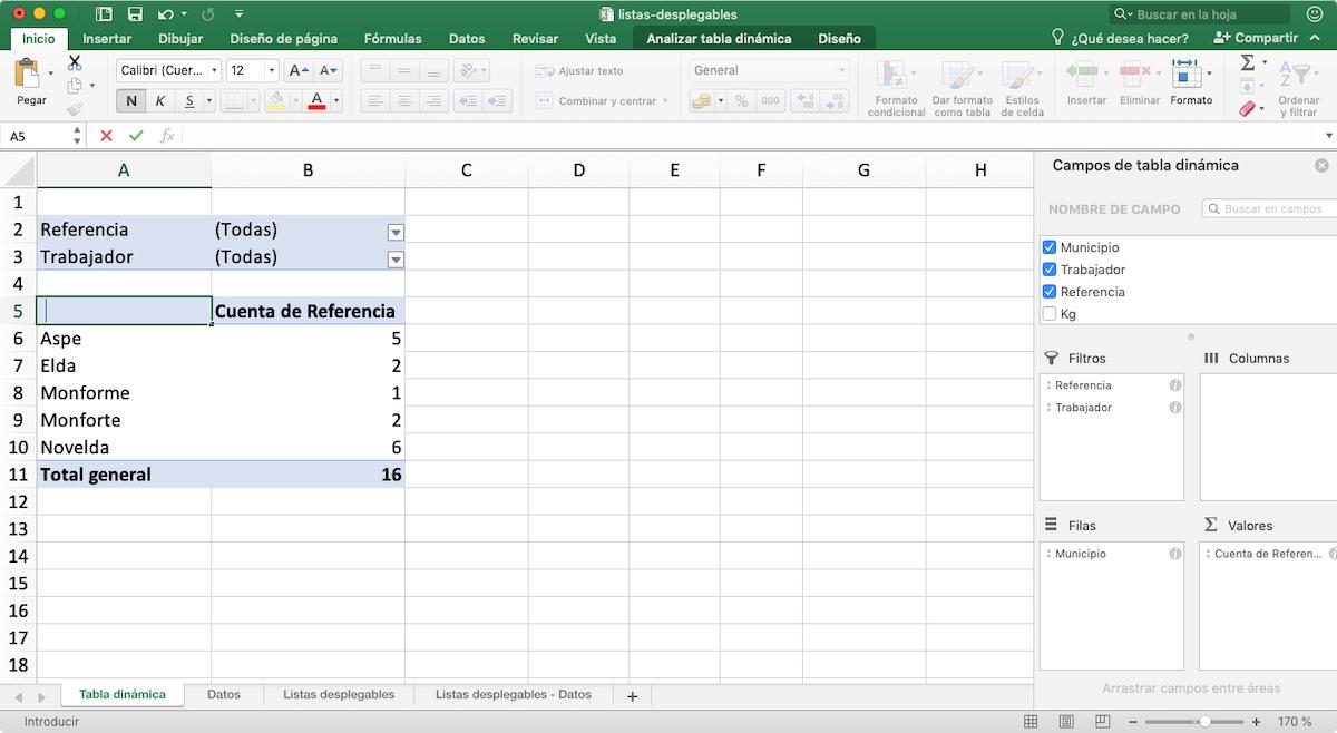 Filas - tablas dinámicas en Excel