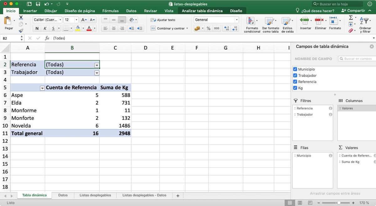 Valores - tablas dinámicas en Excel