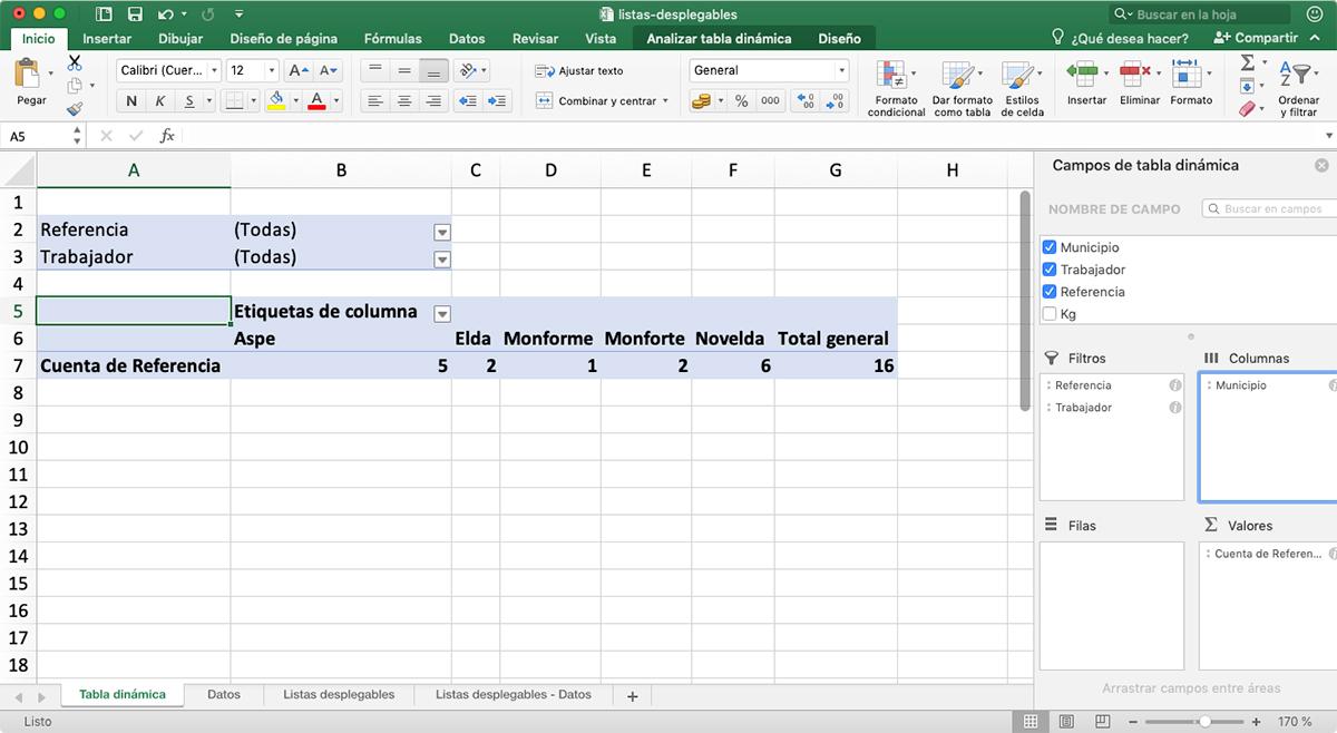Columnas - tablas dinámicas en Excel