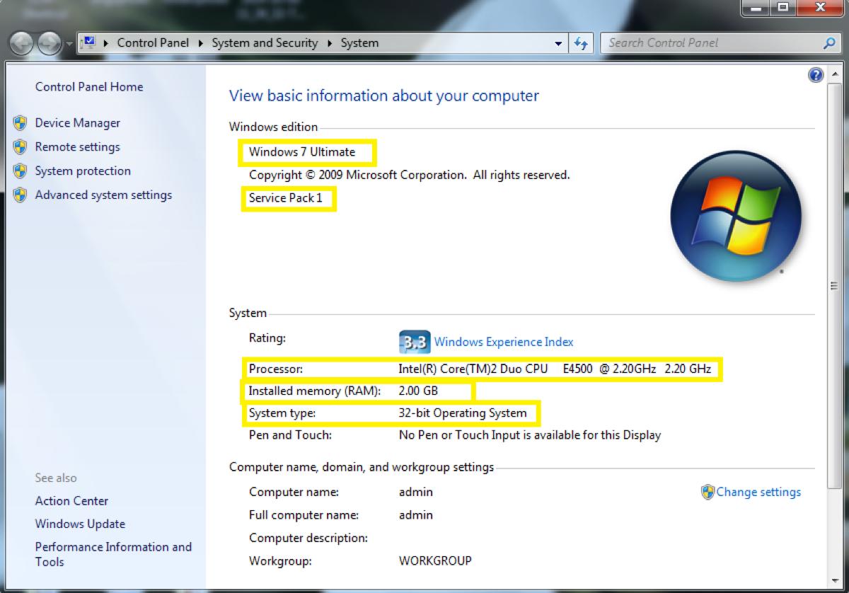 Datos sistema operativo Wonidws