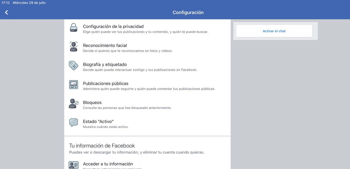 Ajustes privacidad Facebook