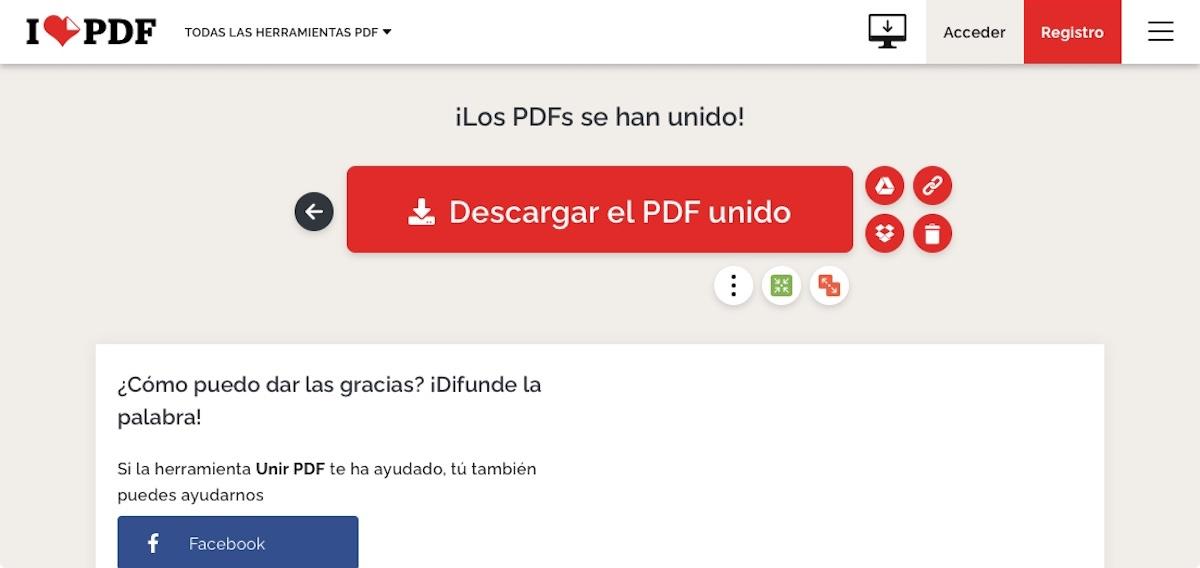 Unir dos PDF en uno con IlovePDF