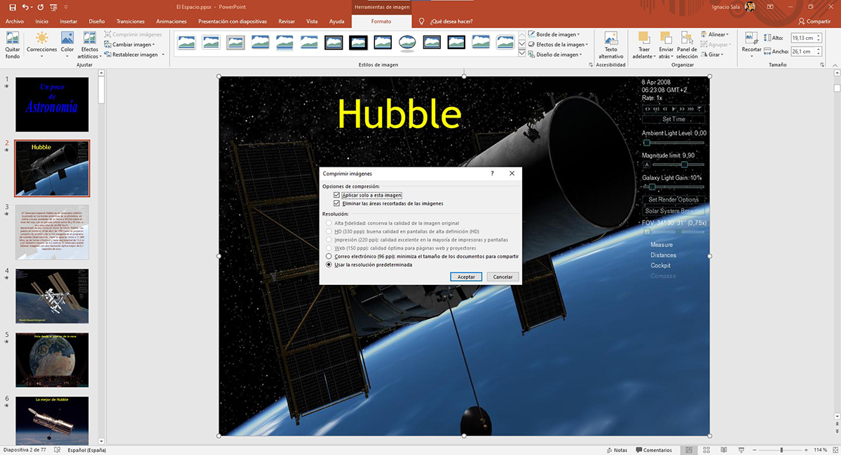 Comprimir imágenes PowerPoint