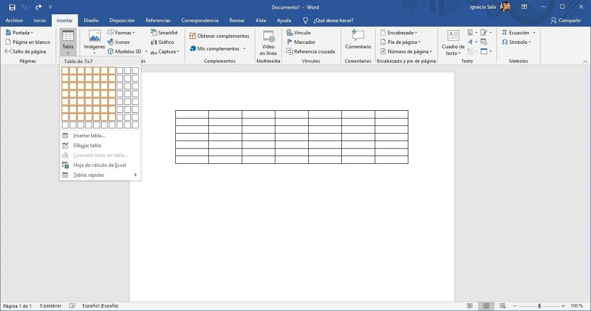 Crear tabla para el calendario de Word