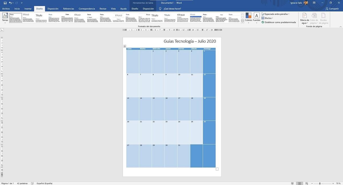 Calendarios en Word