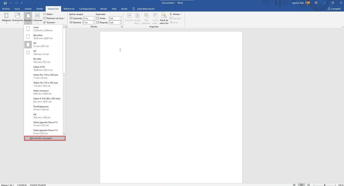 Calendarios en Word- Establecer tamaño calendario