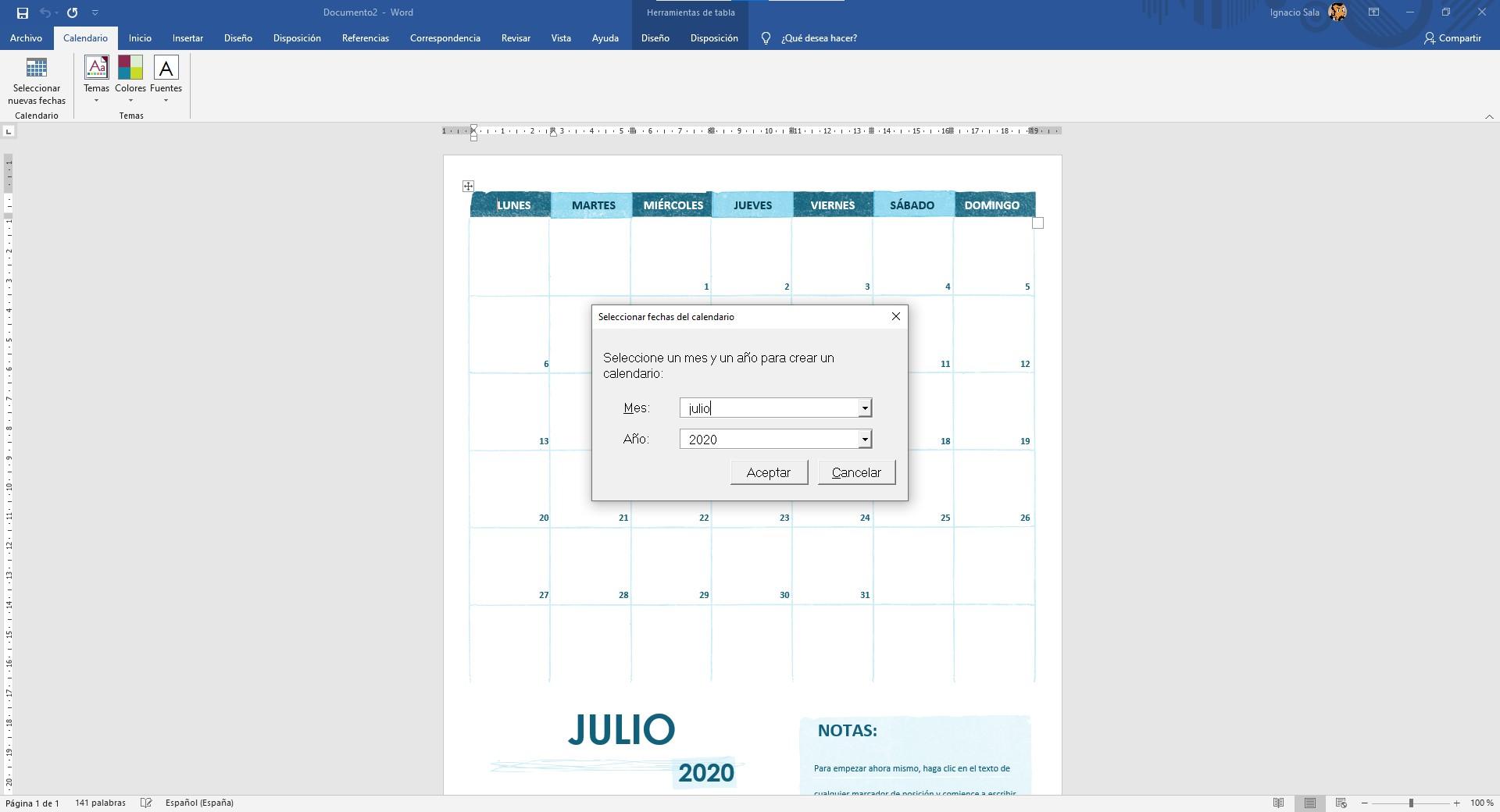 Establecer fechas en las plantillas de calendario Word