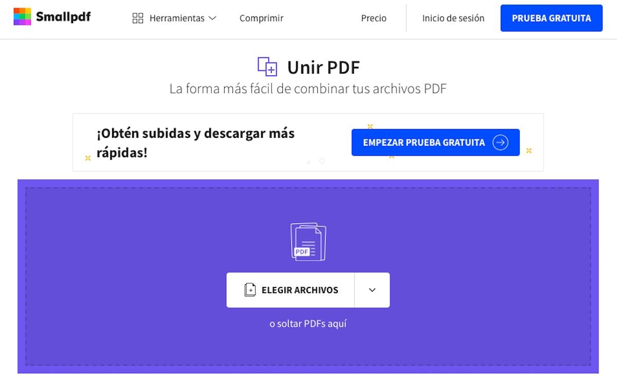 Unir dos PDF en uno con Smallpdf