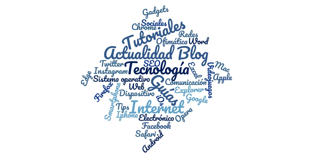 Nube de palabras de Guías Tecnología creada a partir de www.nubedepalabras.es