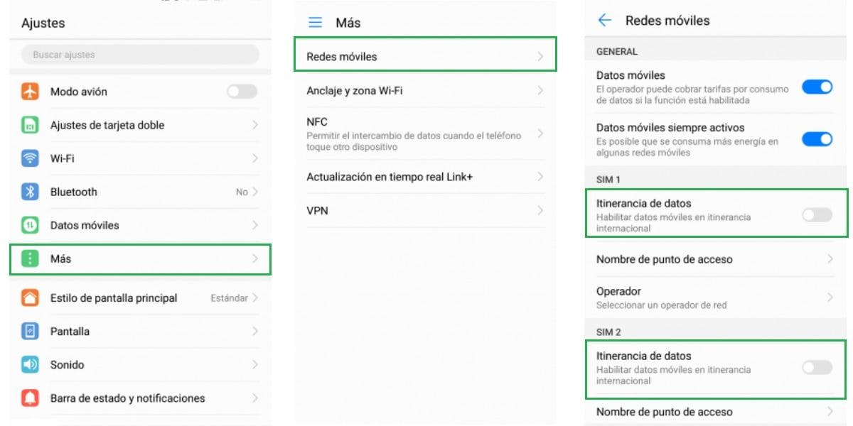 Activar o desactivar la itinerancia de datos en Android