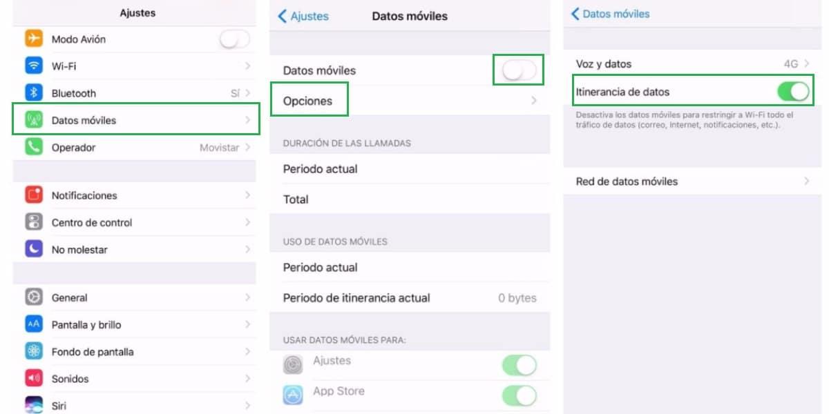 Activar o desactivar la itinerancia de datos en iPhone y iOs