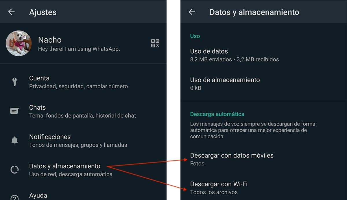 Desactivar guardado automático en WhatsApp