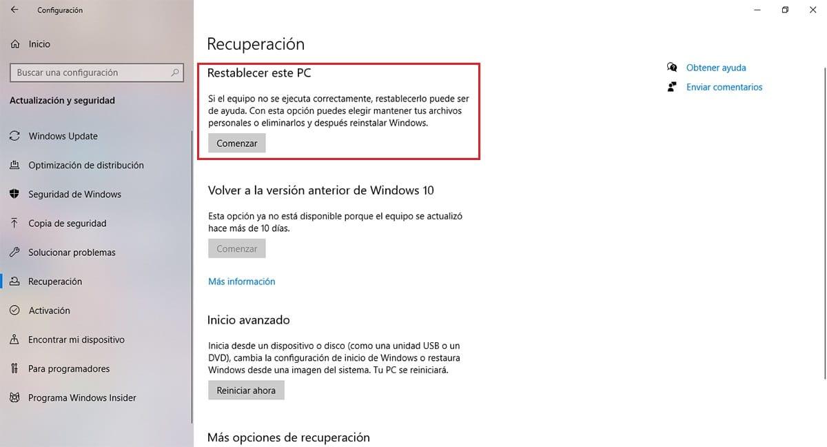 Opciones de recuperación en Windows 10