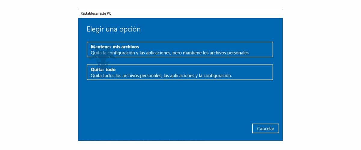 Restablecer Windows 10 de forma segura por completo