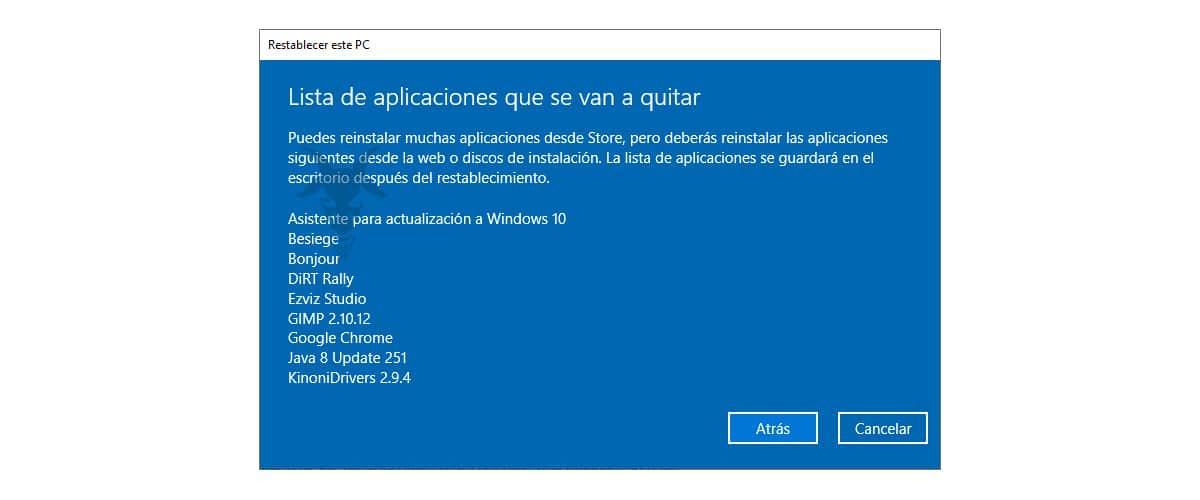 Aplicaciones que se van a eliminar al restablecer Windows 10