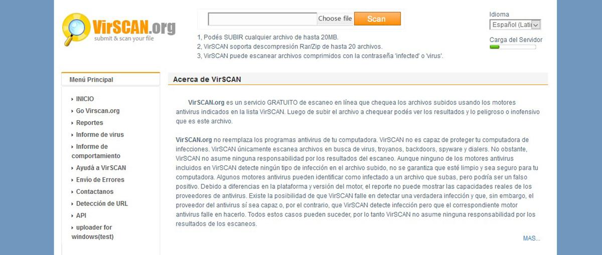 VirSCAN - Antivirus online