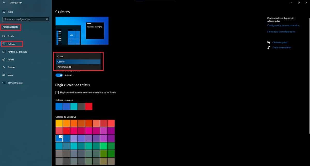 Configurar modo oscuro Windows 10