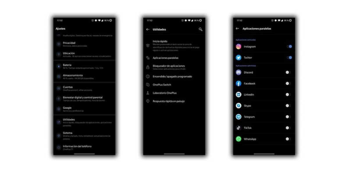aplicaciones paralelas oneplus