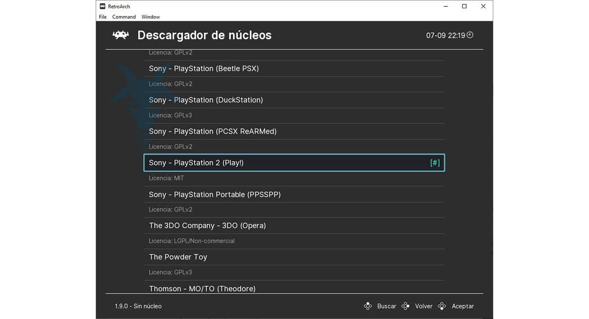 Descargador de núcleos RetroArch
