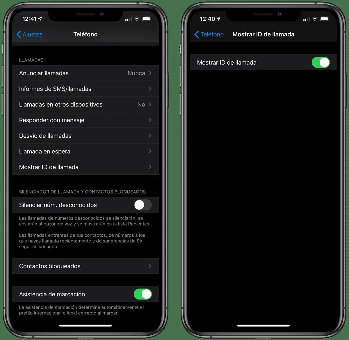 Llamadas oculto iOS