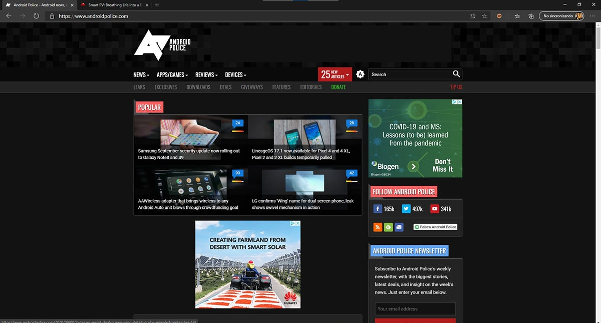 Modo oscuro página web en Microsoft Edge