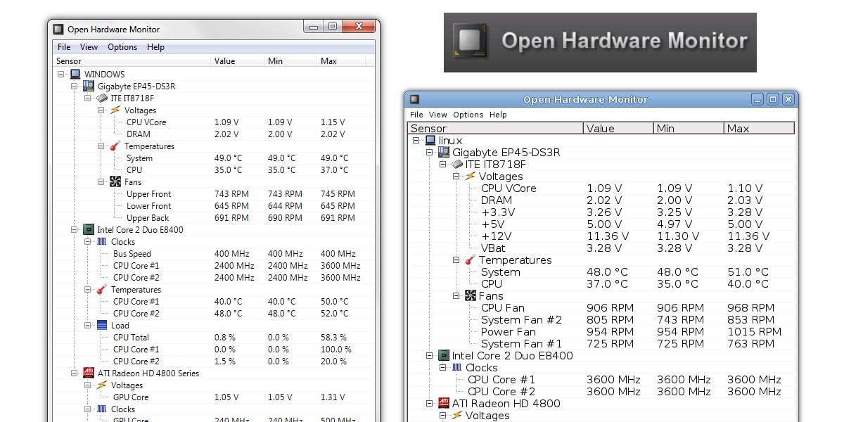Pantallazos programa Open Hardware Monitor