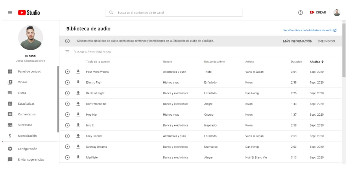 YouTube Audio Library para descargar música sin derechos de autor gratis