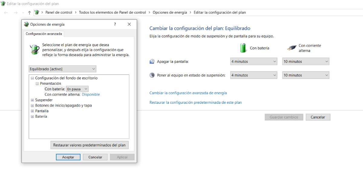 Configuración del Plan de Energía de Windows 10