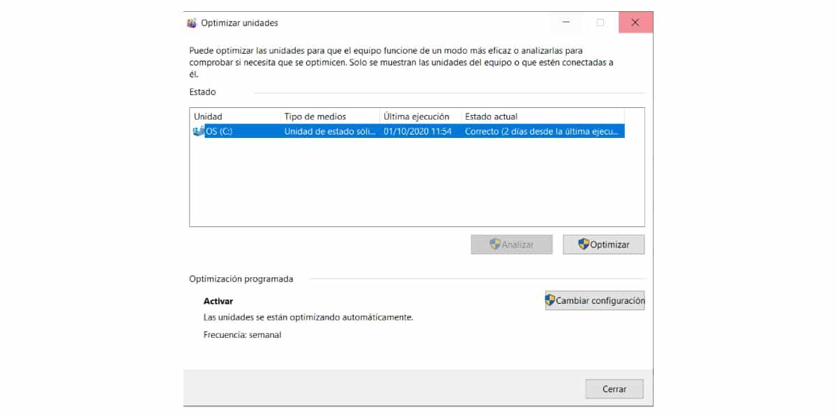 Optimizar unidades Windows 10