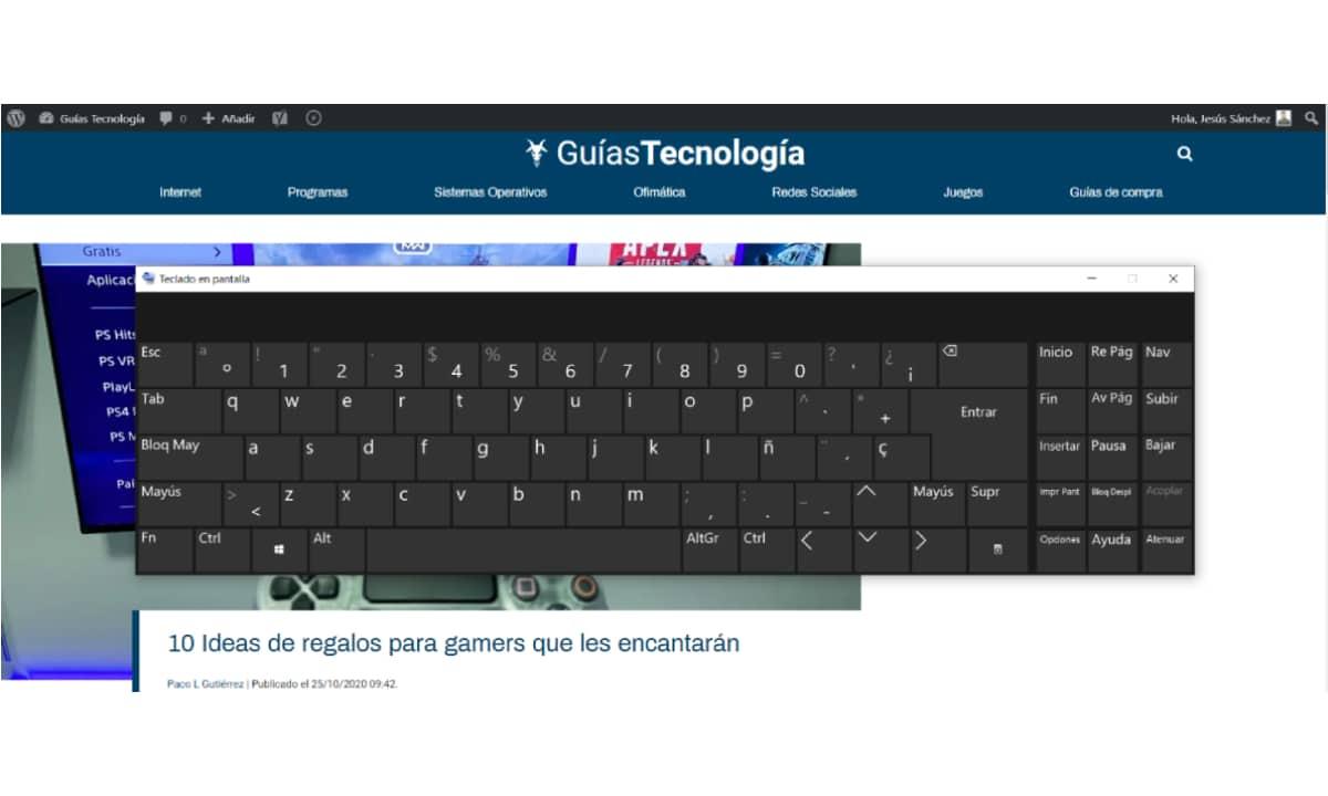 Teclado en pantalla Windows 10